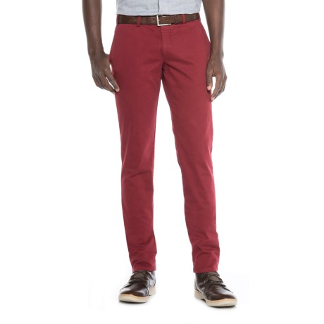 FHP by Hiltl Teach Flat-Front Chino Pants - Slim Fit (For Men) in Currant
