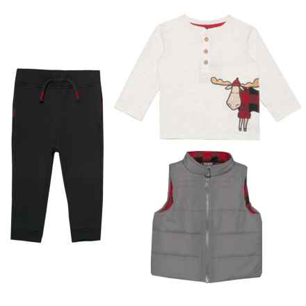 Fierce Frank Moose Shirt, Puffer Vest and Pants Set - Insulated, Long Sleeve (For Infant Boys) in Ivory Black Grey - Closeouts