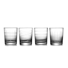 Fifth Avenue Crystal Medallion Etched Double Old-Fashioned Glasses - 16 fl.oz., Set of 4 in Clear - Closeouts