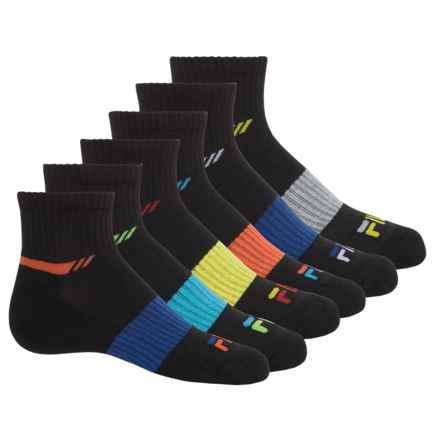Fila 5 Cushion Quarter Socks - 6-Pack, Quarter Crew (For Big Boys) in Black/Rainbow Logo - Closeouts