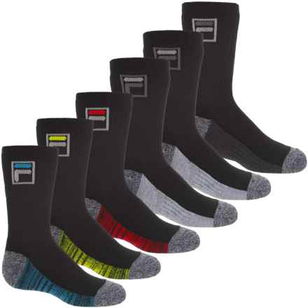 Fila AbsorbDry Socks - 6-Pack, Crew (For Boys) in Black - Closeouts