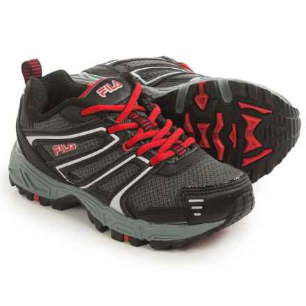 Fila Ascent 18 Trail Running Shoes (For Little and Big Kids) in Castlerock/Black/Fila Red - Closeouts