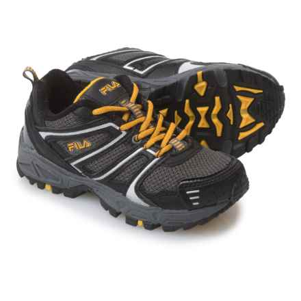 Fila Ascent 18 Trail Running Shoes (For Little and Big Kids) in Castlerock/Black/Gold Fusion - Closeouts
