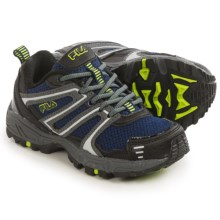 Fila Ascent 18 Trail Running Shoes (For Little and Big Kids) in Fila Navy/Castlerock/Safety Yellow - Closeouts