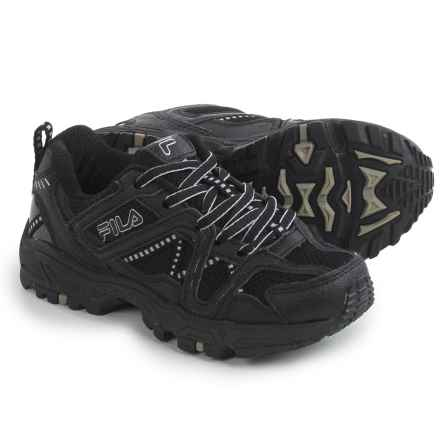Fila Ascente 15 Hiking Shoes (For Little and Big Boys) in Black/Black/Metallic Silver - Closeouts