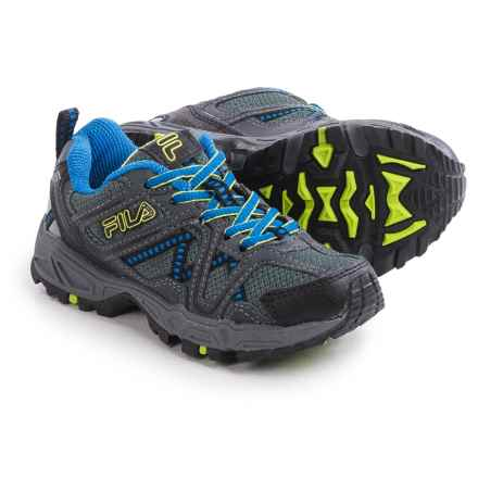 Fila Ascente 15 Hiking Shoes (For Little and Big Boys) in Black/Castlerock/Prince Blue - Closeouts