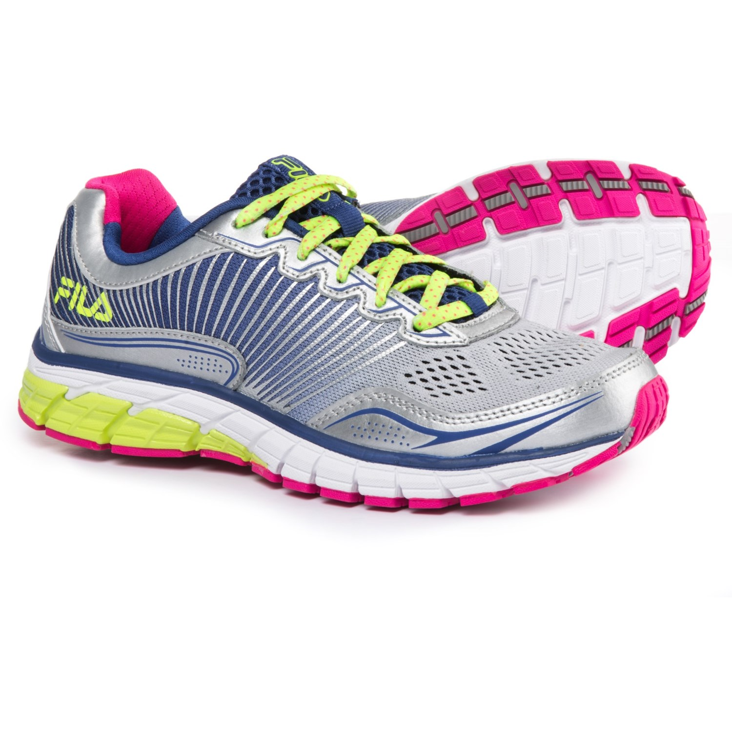 fila for women. fila aspect energized running shoes (for women) in metallic silver/royal blue/ for women