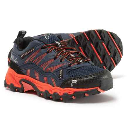 Fila At Peake 16 Trail Running Shoes (For Boys) in Fila Navy/Vibrant Orange/Black - Closeouts