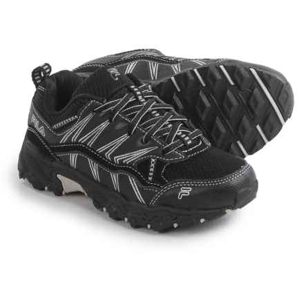Fila At Peake 16 Trail Running Shoes (For Little and Big Boys) in Black/Black/Metallic Silver - Closeouts