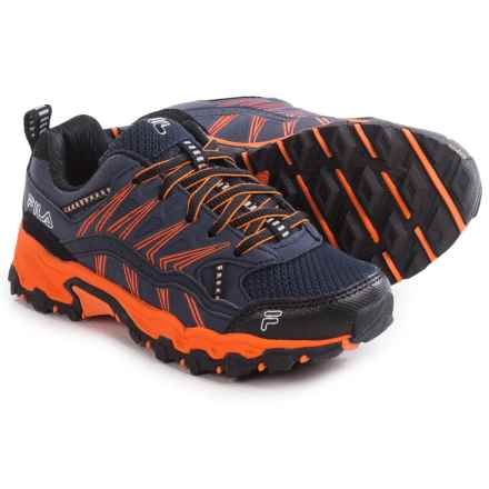 Fila At Peake 16 Trail Running Shoes (For Little and Big Boys) in Fila Navy/Vibrant Orange/Black - Closeouts