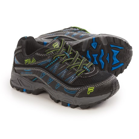 Fila At Peake Trail Running Shoes (For Little and Big Kids) in Black/Electric Blue/Green