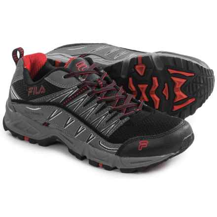Fila At Peake Trail Running Shoes (For Men) in Black/Castlerock/Fila Red - Closeouts