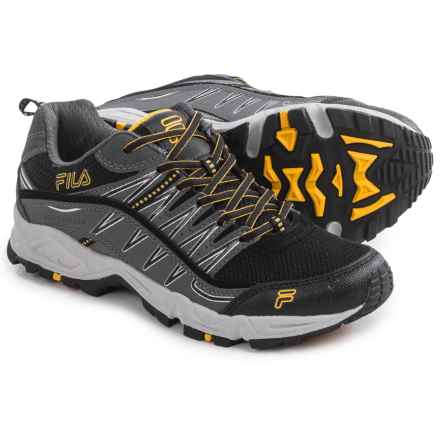 Fila At Peake Trail Running Shoes (For Men) in Black/Castlerock/Gold Fusion - Closeouts