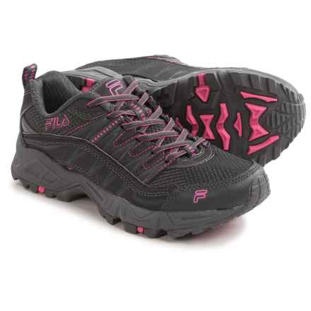 Fila At Peake Trail Running Shoes (For Women) in Dark Shadow/Castlerock/Knockout Pink - Closeouts