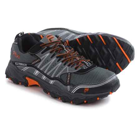 Fila At Tractile Trail Running Shoes (For Men) in Pewter/Black/Vibrant Orange - Closeouts