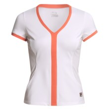 Fila Center Court Athletic Shirt - Short Sleeve (For Women) in White/Hotcoral - Closeouts