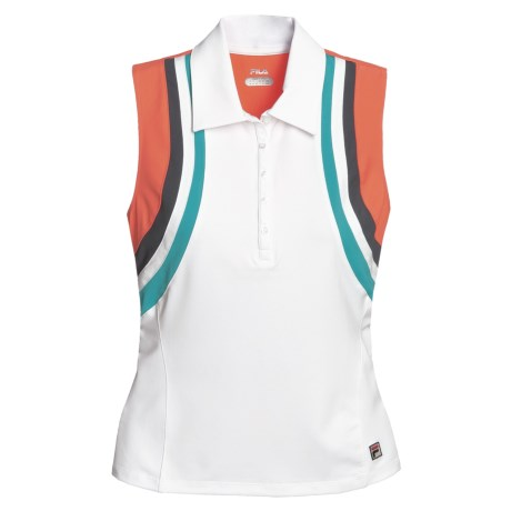 Fila Center Court Athletic Tank Polo Shirt - Sleeveless (For Women) in White/Hot Coral/Ebony/Veridan Green