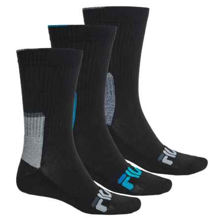 Fila Color-Block Socks - 3-Pack, Crew (For Men) in Black - Overstock