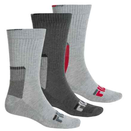 Fila Color-Block Socks - 3-Pack, Crew (For Men) in Gray - Overstock