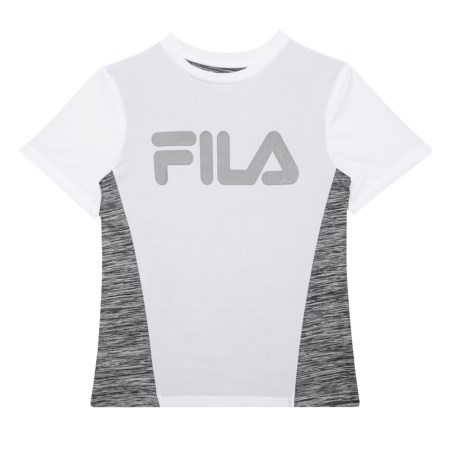 Fila Core Monochrome Space-Dye T-Shirt - Short Sleeve (For Big Boys) in Bright White