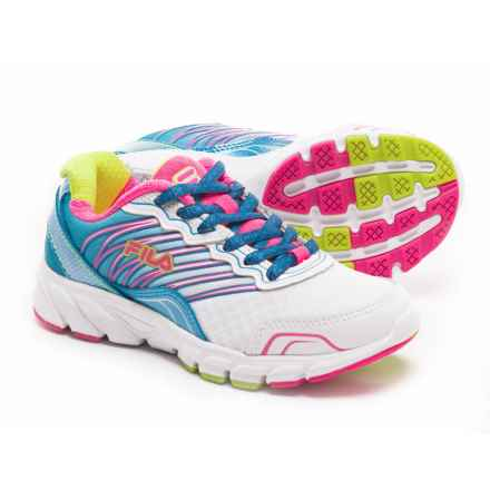 Fila Countdown Shoes (For Little and Big Girls) in White/Aruba Blue/Knockout Pink - Closeouts