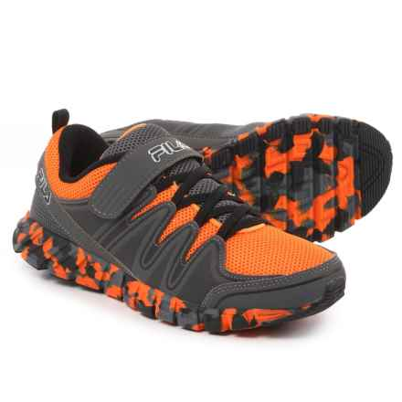 Fila Crater 4 Strap Camo Running Shoes (For Boys) in Gray/Vibrant Orange/Black - Closeouts