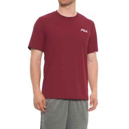 Fila Crew Neck T-Shirt - Short Sleeve (For Men) in Dark Garnet - Closeouts