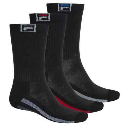 Fila Descend Stripes Socks - 3-Pack, Crew (For Men) in Black - Overstock