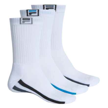 Fila Descend Stripes Socks - 3-Pack, Crew (For Men) in White - Overstock