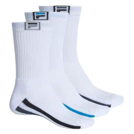 Fila Descend Stripes Socks - 3-Pack, Crew (For Men) in White - Overstock