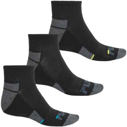 Fila Descending Stripe Socks - 3-Pack, Quarter Crew (For Men) in Black - Overstock