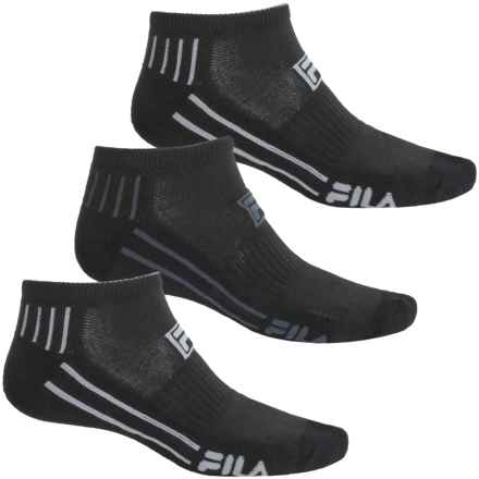 Fila Dual Angle Striped Socks - 3-Pack, Below the Ankle (For Men) in Black - Overstock
