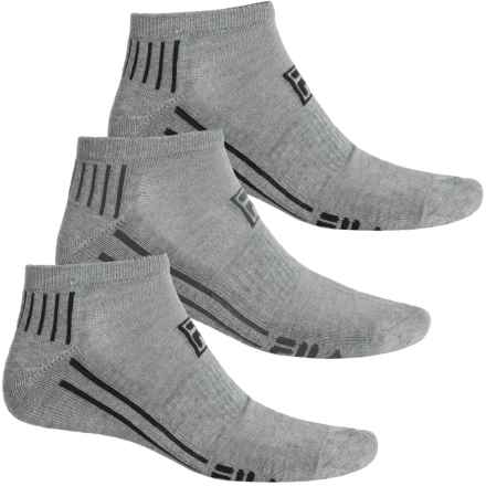 Fila Dual Angle Striped Socks - 3-Pack, Below the Ankle (For Men) in Gray - Overstock