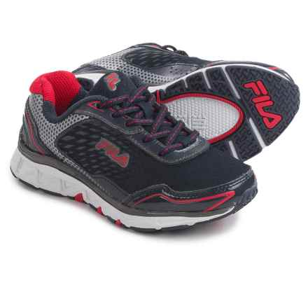 Fila Energistic Running Shoes (For Little and Big Boys) in Navy/Silver/Red - Closeouts