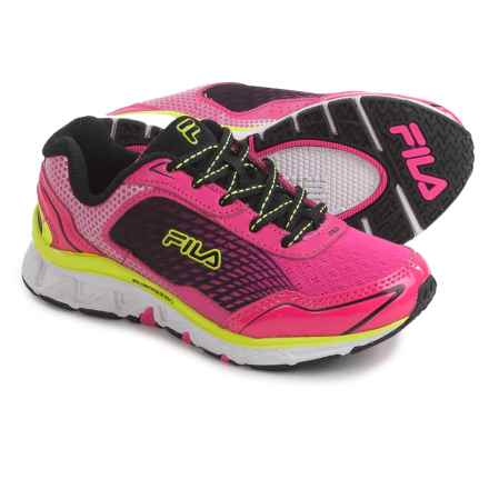 Fila Energistic Running Shoes (For Little and Big Girls) in Pink/Black/Yellow - Closeouts