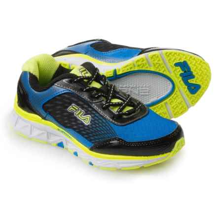 Fila Energistic Running Shoes (For Little and Big Girls) in Prince Blue/Safety Yellow/Black - Closeouts