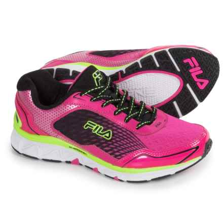 Fila Energistic Running Shoes (For Little and Big Kids) in Pink Glo/Black/Safety Yellow - Closeouts