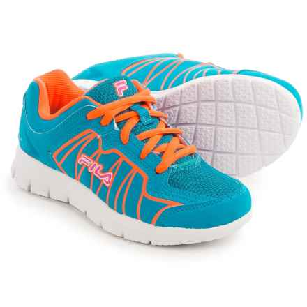 Fila Escalight Running Shoes (For Little and Big Kids) in Atomic Blue/Orange/Pink - Closeouts