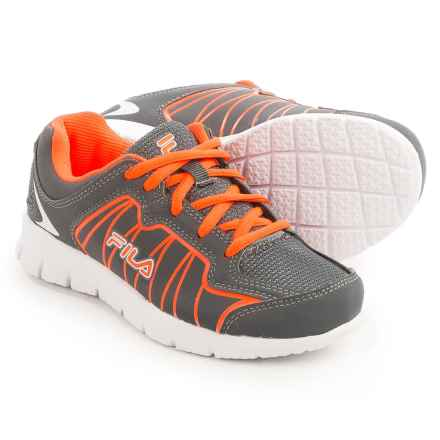 Fila Escalight Running Shoes (For Little and Big Kids) in Castlerock/Red Orange/White - Closeouts