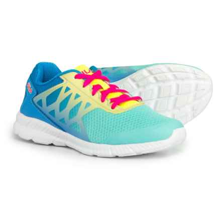Fila Faction 3 Running Shoes (For Girls) in Aruba Blue/Marina/Safety Yellow - Closeouts