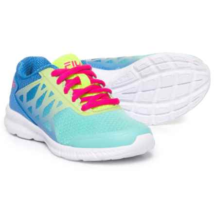 Fila Faction 3 Running Shoes (For Girls) in Aruba Blue/Marnia/Safety Yellow - Closeouts