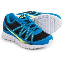 Fila Flicker Running Shoes (For Little and Big Boys) in Black/Soft Blue/Safety Yellow - Overstock
