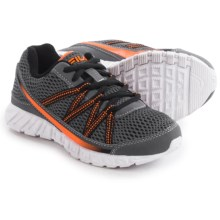 Fila Flicker Running Shoes (For Little and Big Boys) in Castlerock/Black/Vibrant Orange - Overstock