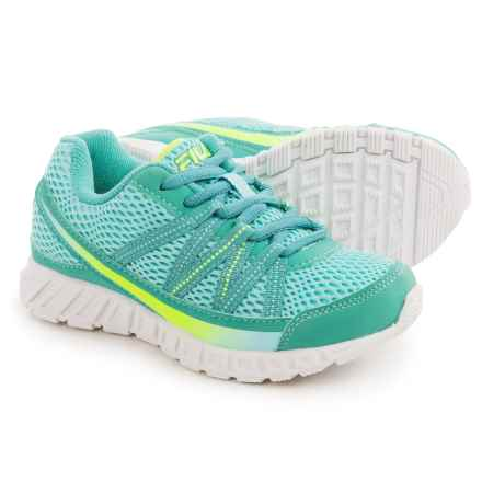 Fila Flicker Running Shoes (For Little and Big Girls) in Aruba Blue/Lagoon/Safety Yellow - Overstock