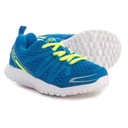 Fila Flyver Running Shoes (For Boys) in Electric Blue/Safety Yellow/Metallic Silver - Closeouts
