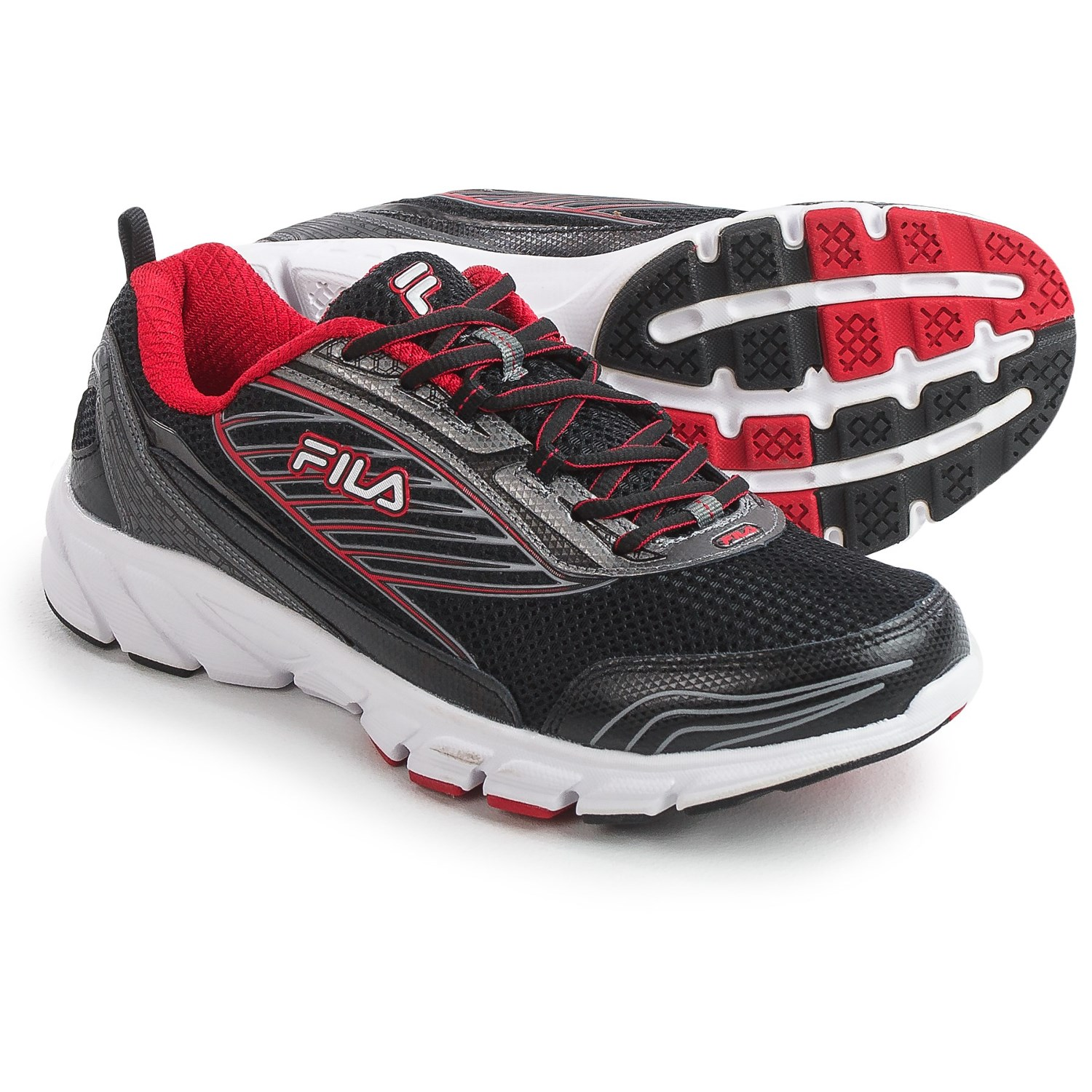 fila shoes men. fila forward 2 running shoes (for men) in black/dark silver/red men o