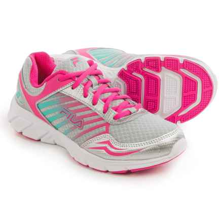 Fila Gamble Running Shoes (For Women) in Metalllic Silver/Pink Glow/Cockatoo - Closeouts