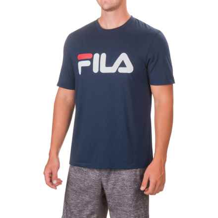 Fila Graphic Logo T-Shirt - Short Sleeve (For Men) in Navy/Chinese Red/White - Closeouts