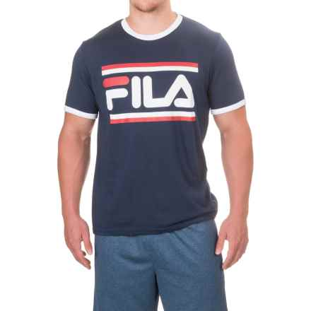 Fila Graphic T-Shirt - Short Sleeve (For Men) in Navy/White/Chinese Red - Closeouts