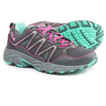 Fila Headway 5 Trail Shoes (For Little and Big Girls) in Castlerock/Knockout Pink/Cockatoo - Closeouts